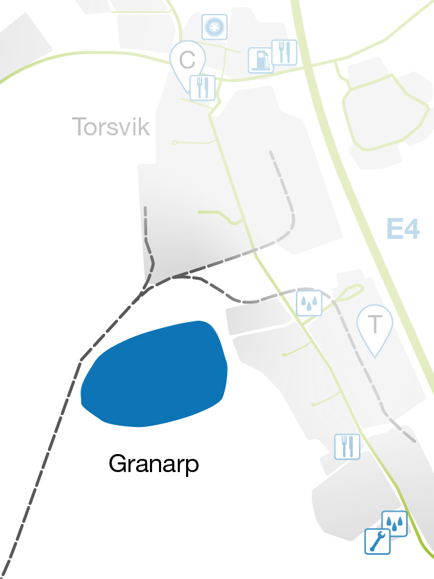 Illustrated map showing Granarp at LogPoint.