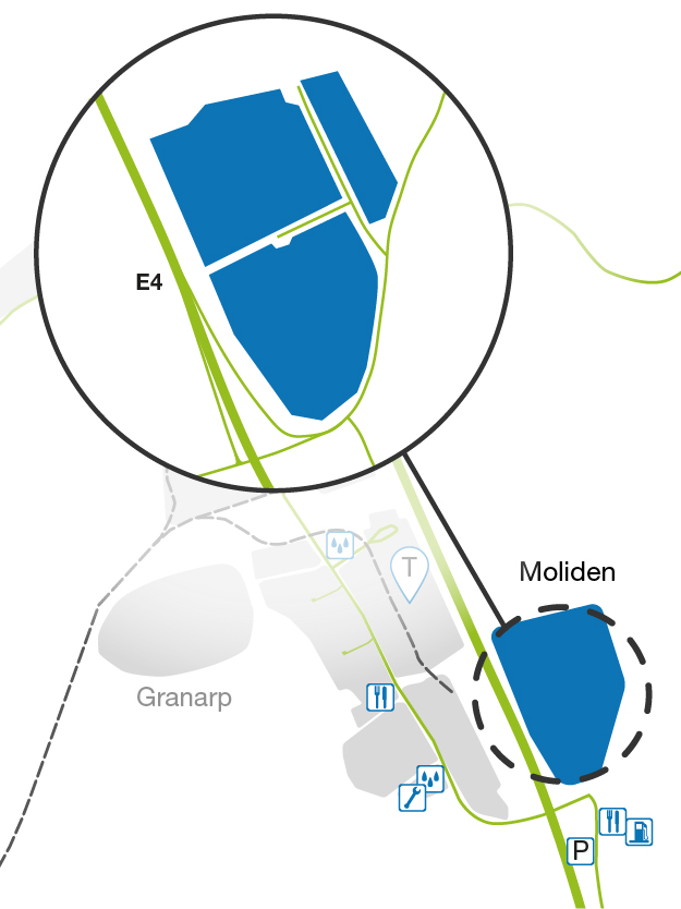 Illustrated map showing Moliden at LogPoint.