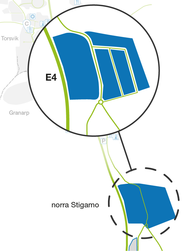 Illustrated map showing the northern section of Stigamo at LogPoint.