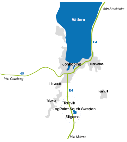 Illustrated map showing LogPoint's location in relation to Jönköping.